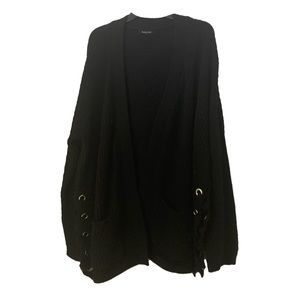 Chunky Black Cardigan With Side Lace-Up Detail